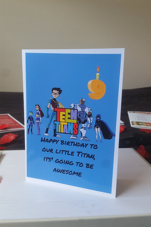 Personalised Teen Titan birthday card for son or daughter, cards for kids