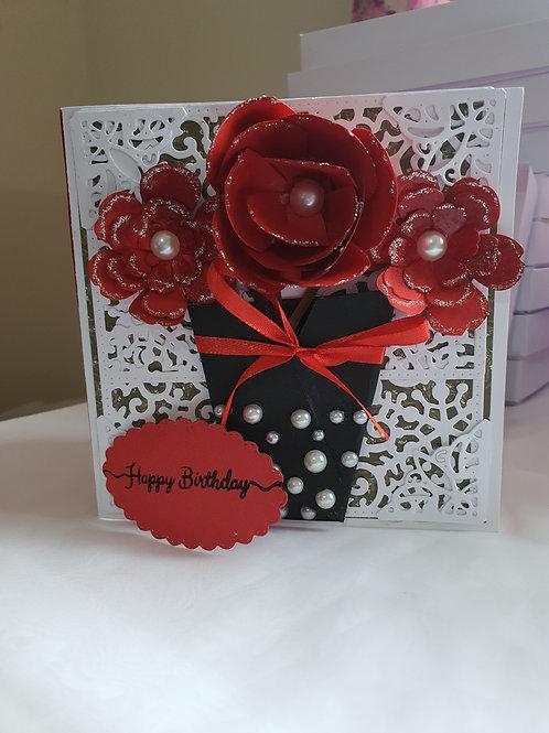Floral birthday card, handmade card, personalised card