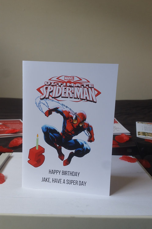 Personalised spider man birthday card for son or daughter, character cards