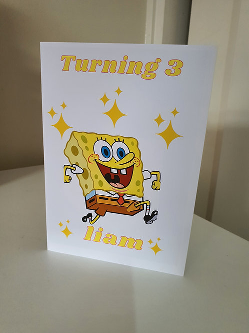 Sponge Bob personalised birthday card for son or daughter