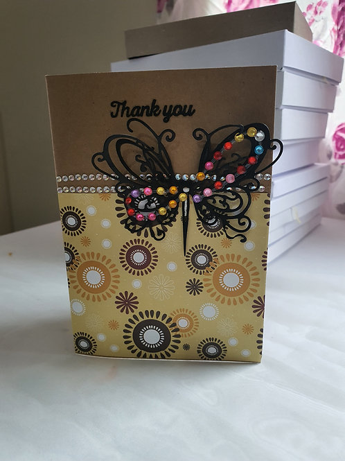 Handmade stamped butterfly thank you card, A card