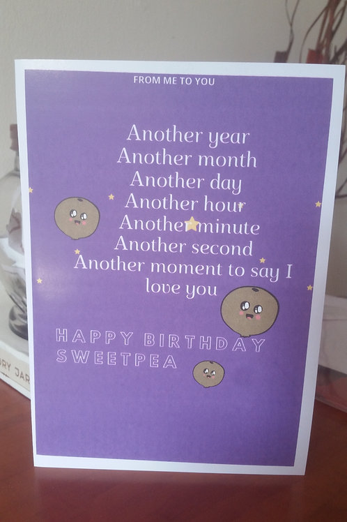 Sweet pea, personalised birthday card for him, card for her, gift i