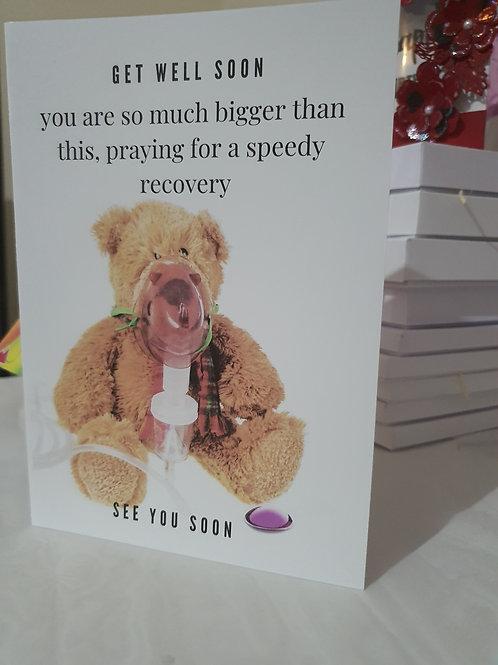 Get well soon card, teddy card, encouragement card