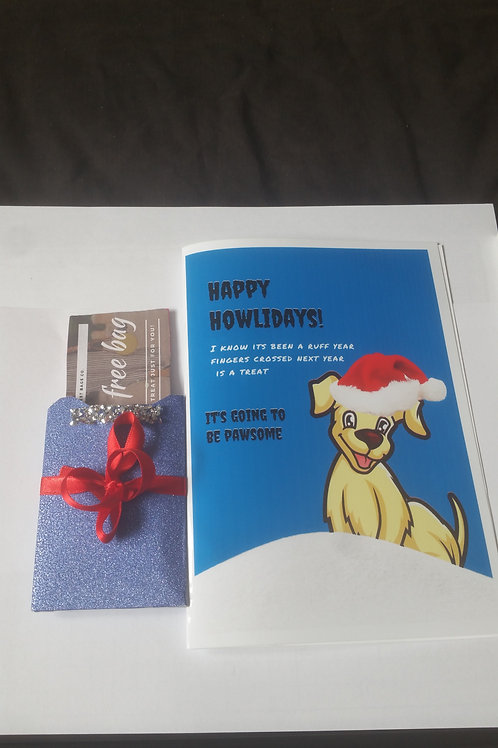 Happy Howliday Christmas card with gift card holder, Christmas gift ideas