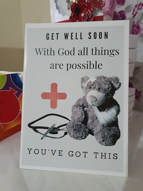 Get well soon card, teddy card, encouragement card