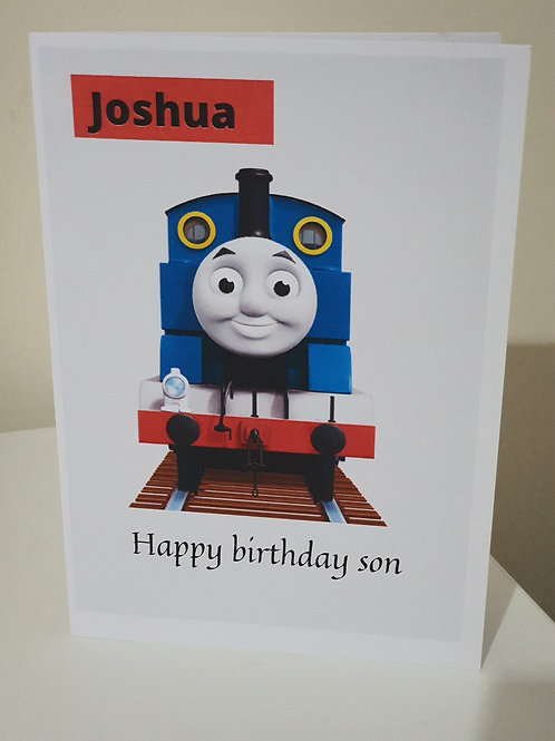 Thomas personalised birthday card for son or daughter