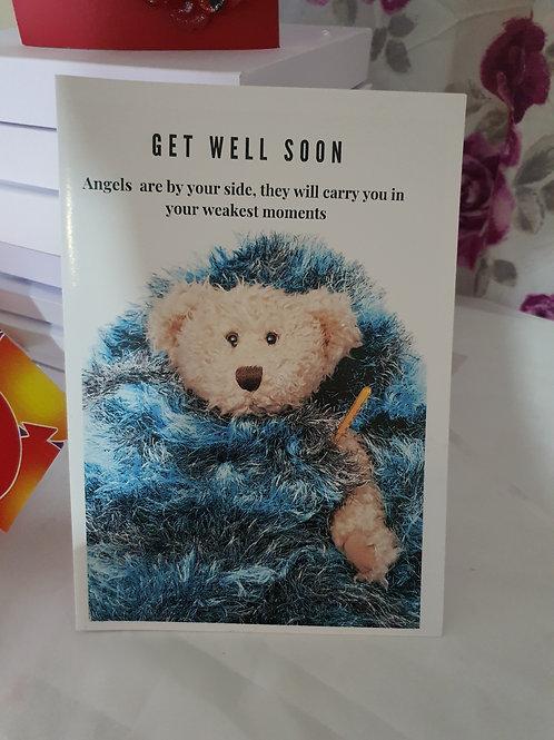 Get well soon card, teddy card