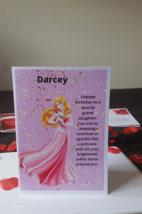 Personalised princess Bell birthday card for grand daughter, character card