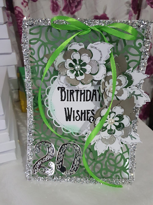 Handmade happy birthday card for her, floral green see through card