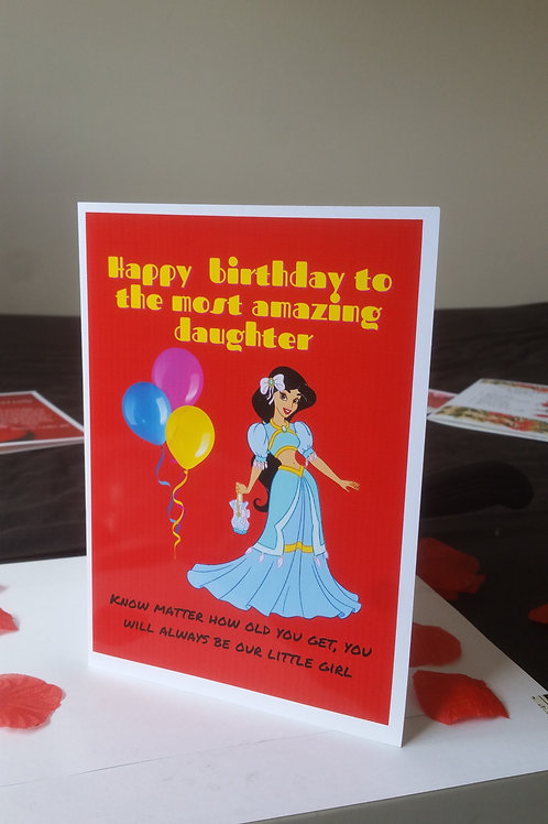 Personalised princess birthday card for daughter, ideas for kids