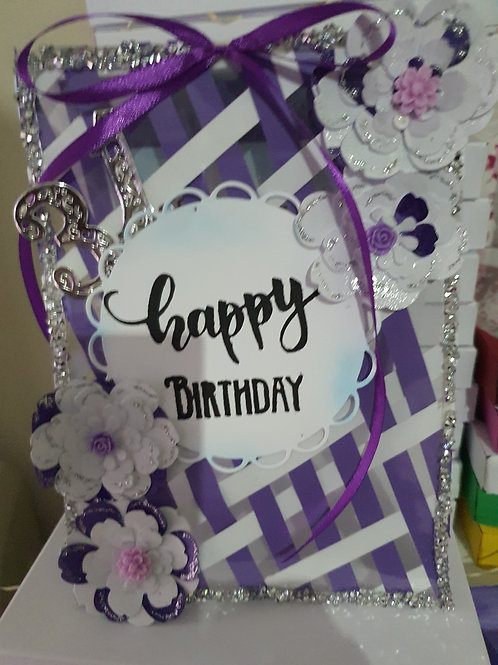Happy birthday stamped card, purple and white see through card