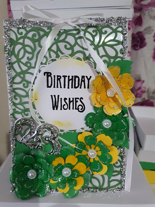 Handmade happy birthday card for her, floral card