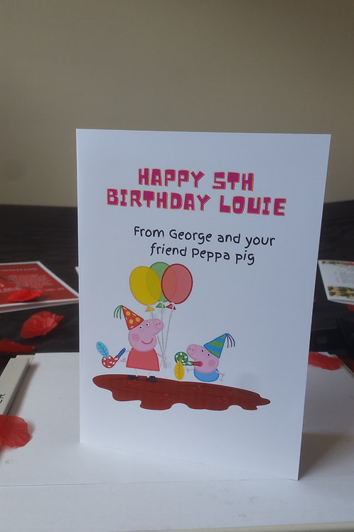 Personalised Peppa pig birthday card for son or daughter, character card