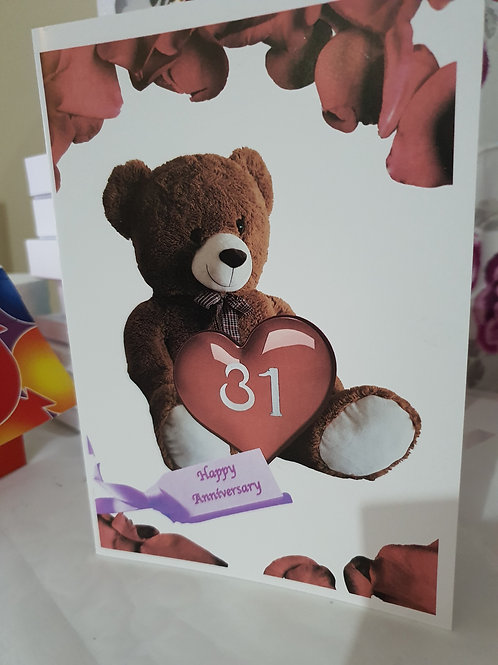 Personalised card, happy anniversary bear card