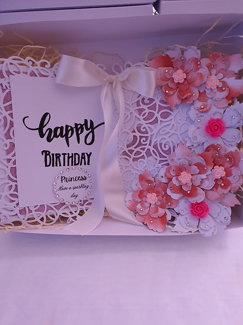 Open book happy birthday floral card, card for her