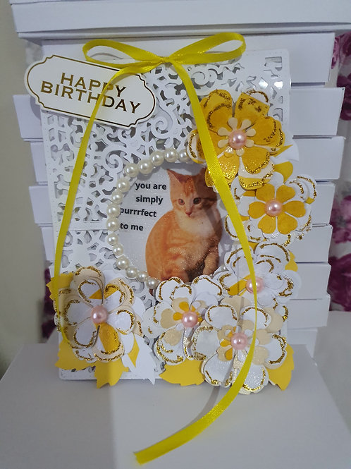 PURRFECT to me birthday card, handmade card