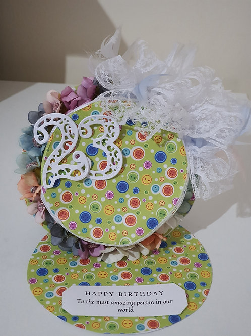 Buttons easel hat card