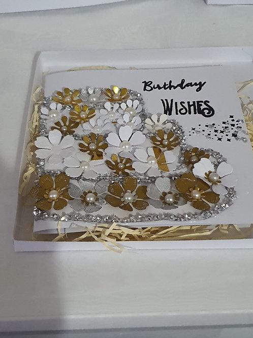 Cake design birthday wishes stamped card