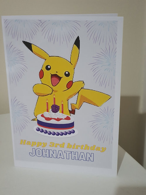 Pikachu personalised birthday card for son or daughter