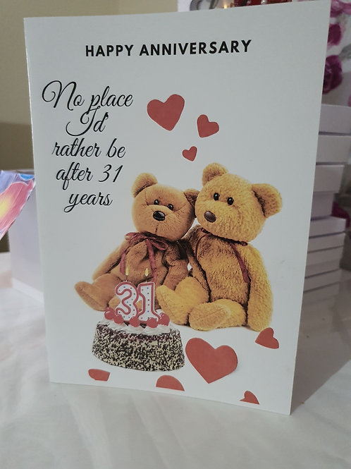 Happy anniversary teddy bear card