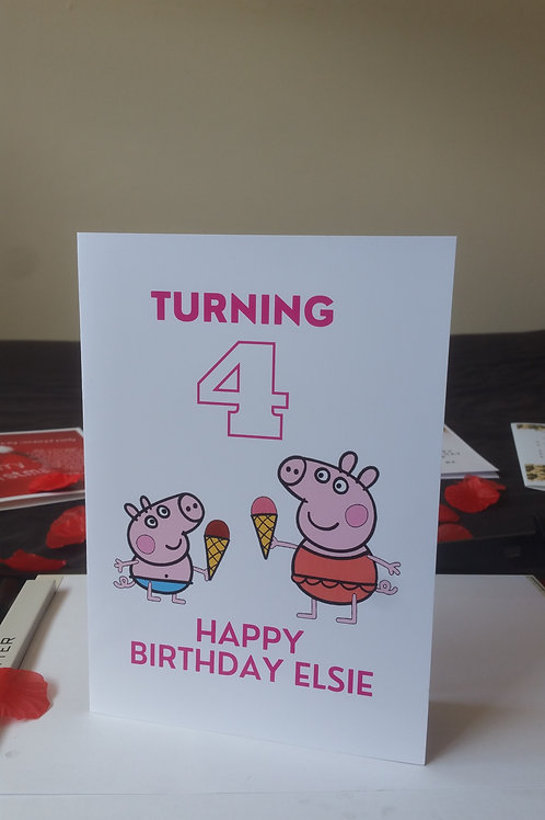 Personalised Peppa and George birthday card for son or daughter, character cards