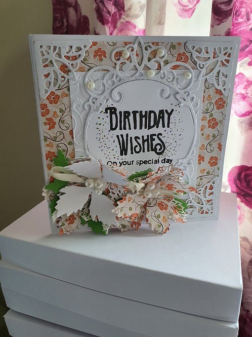 Happy birthday wishes stamped card, card for her