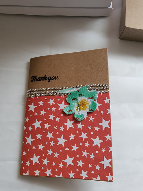 Stamped handmade thank you card, A card