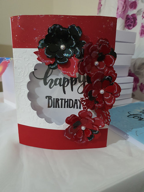 Happy birthday floral dome card