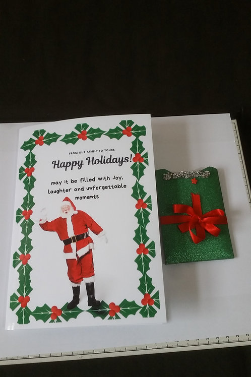 Happy holidays, Christmas cards with gift card holder