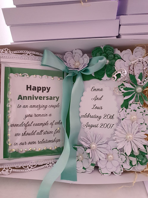 Open book happy anniversary floral card