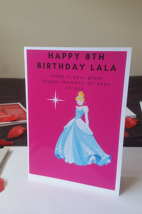 Personalised Cinderella princess birthday card for daughter, character cards