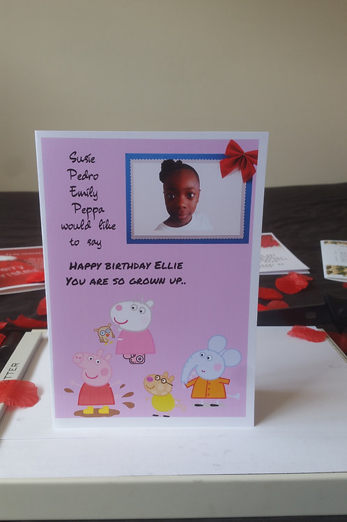 Personalised Peppa pig photo birthday card for son or daughter, character cards
