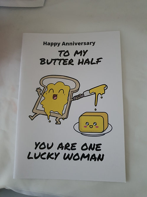 Funny happy  anniversary butter half card
