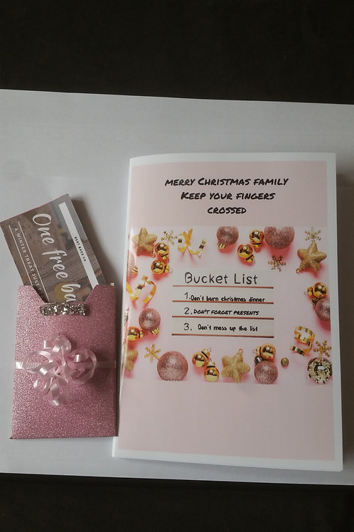 Bucket list Christmas card with gift card holder, personalised family card