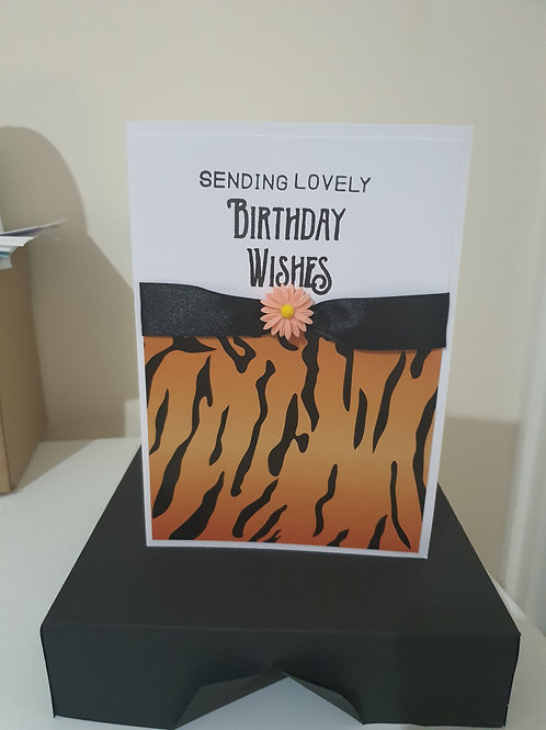 Tiger print, birthday wishes, card for her