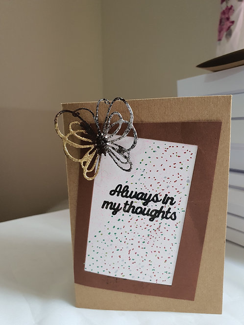 Butterfly sentiment, always in my thoughts card