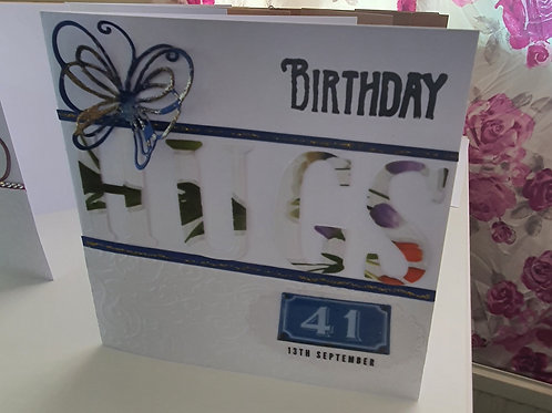 HUGS birthday card, embossed card for him