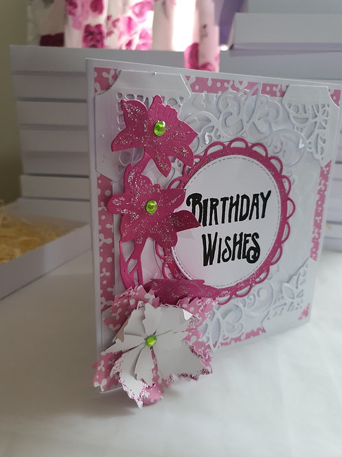 Pink and white embossed birthday card