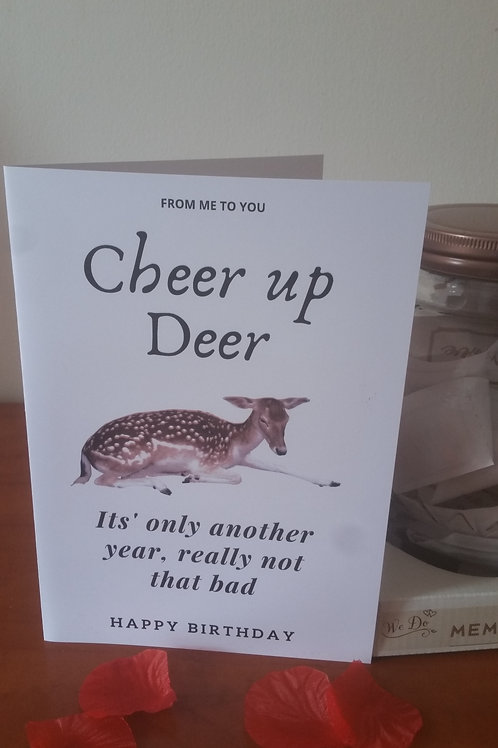 personalised birthday card, Cheer up deer, quirky card