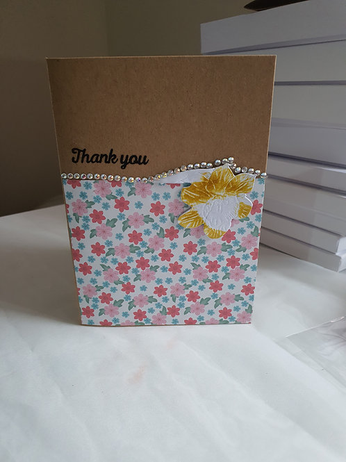 Stamped handmade thank you card