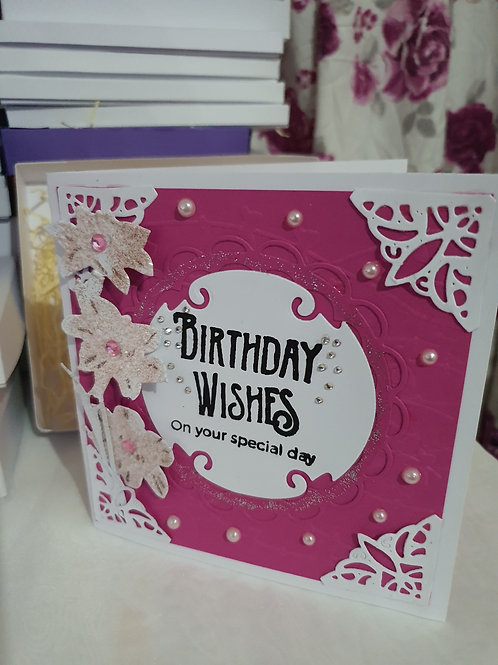 Pink and white birthday card