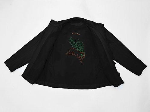 """Телогрейка черная с вышивкой """"Огненная собака-волк"""" (удлиненная модель)"""