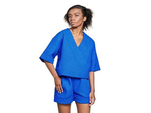 Блуза-кимоно из вафельной ткани