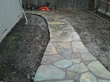 stone path with grouted joints