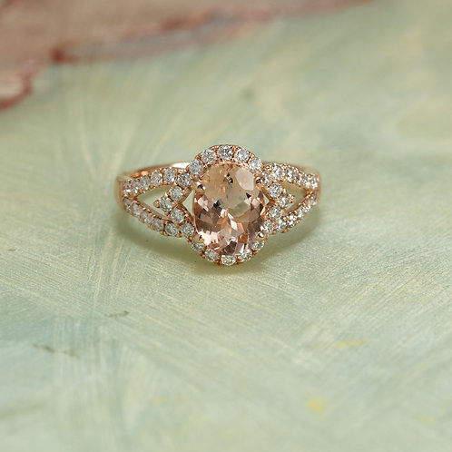 Rose Gold Solid 14K Diamond Halo Engagement Ring Center Is A 9x7MM Oval