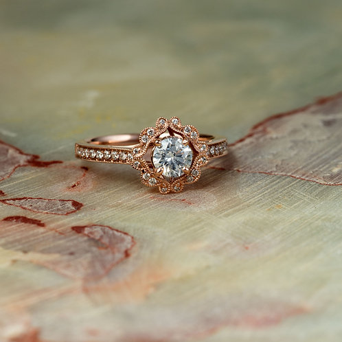 Vintage Floral Milgrain Halo Natural Diamond Bridal Ring In 14k Solid Rose Gold
