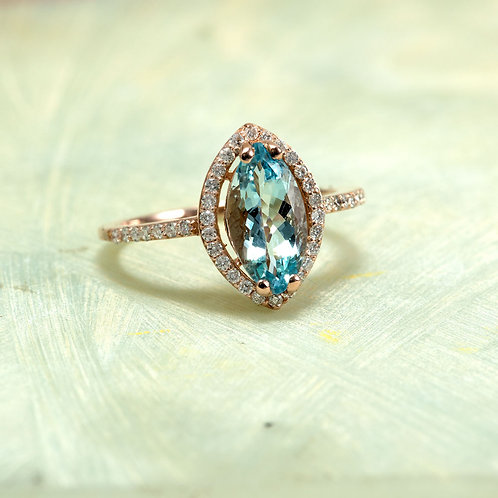 Rose Gold 14K Engagement Diamond Halo Ring Center Is A Marquise Aquamarine