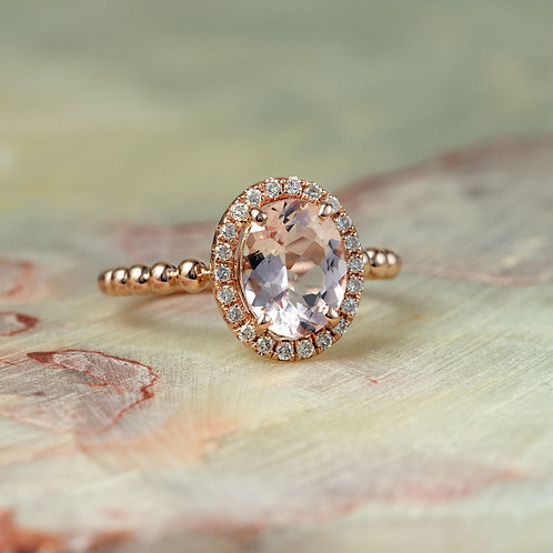 Rose Gold Diamond Halo Engagement Ring in 14k Rose Gold