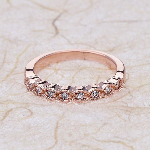 14kt Rose Gold Diamond Half Eternity Scalloped Wedding Band
