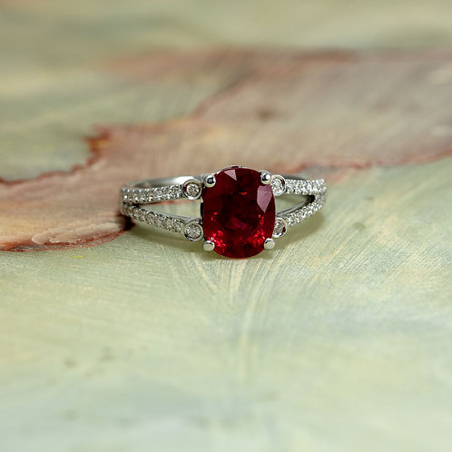 Diamond and Ruby Engagement Ring in 14k White Gold 9x7mm Oval Lab Grown Ruby